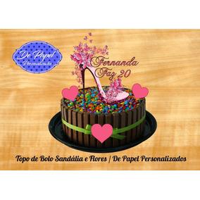Arquivo De Corte Silhouette - Topo De Bolo Sandalia E Flores 7c61e88e93bfc
