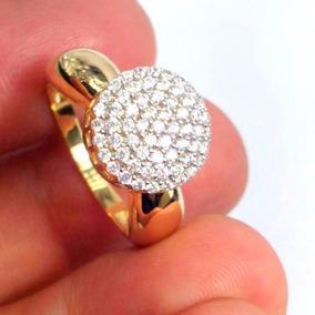 Anel Pavê Chuveiro Ouro Amarelo 18k Com 61 Pedras Diamantes