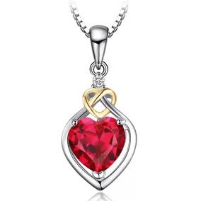 Dije Corazón Plata Esterlina 925 Con Oro Rubí Creado Mujer!!