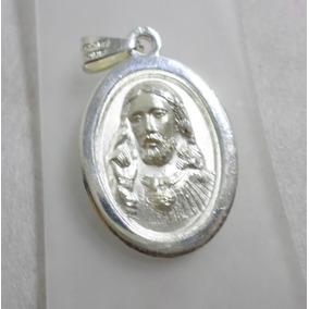 Medalla Doble Vista Virgen Y Rostro Jesús De Plata 925