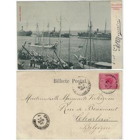 Pe 1904 Cartão Postal Foto Ancoradouro Interno Em Recife