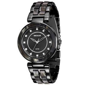 Relógio Feminino Seculus Black Com Madrepérola 20410lpsvpf6