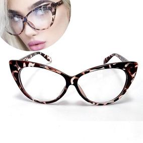 22c0f559e1673 Cat Eye - Armação Óculos Feminino Big Gatinho Retrô Vintage