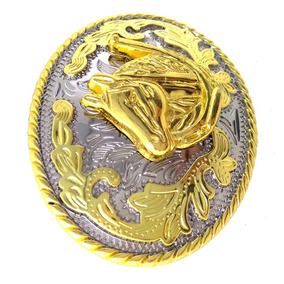 Western Rodeo Running Horse Head Indian Style Belt Buckles (
