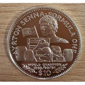 Moeda Prata Ayrton Senna Libéria 10 Dollars Com Certificado