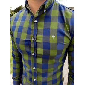 Camisa Slim Fit Cuadros Verdes Y Marino Manga Larga Hombre