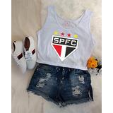 Blusa Regata Sao Paulo Fc Feminina Camiseta Spfc Tricolor bdf80c6c40d