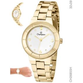 1e0b00736e0 Kit Relógio Champion Feminino Dourado Ch26855w Lindo