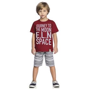 Conjunto Infantil Masculino Elian Camiseta E Bermuda Space