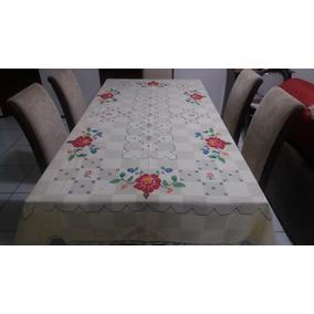 Toalha De Mesa De 6 Cadeiras Ponto Cruz Bordados Do Ceara