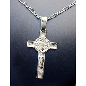 Cruz De San Benito Crucifijo Con Cadena En Plata Ley.925