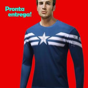 Camiseta Compressão Capitão América Manga Longa Marvel 96e99e8905d91
