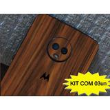Adesivo Skin Capa Moto G5s Moto G5s Plus Nogueira Kit 03un