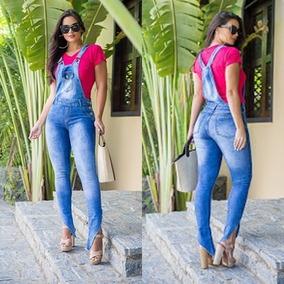Macacão Jardineira Jeans Feminino Com Lycra Longo
