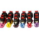 Kit Com 6 Bonecas Kokeshi Vermelha 12,10 E 8,5 Cm