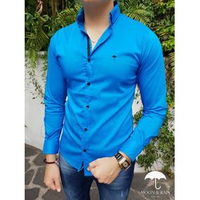 Camisa Slim Fit Azul Lisa Platino Moon & Rain Tiendas Platin