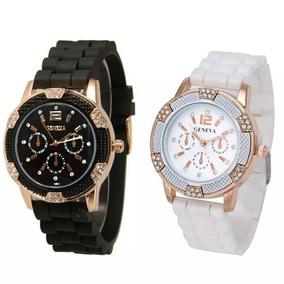 Relógio Geneva Luxo! Com Strass! Silicone Branco Ou Preto