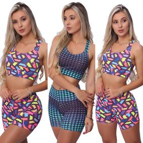 Kit 5 Conjuntos Top + Short Moda Fitness Feminina Atacado