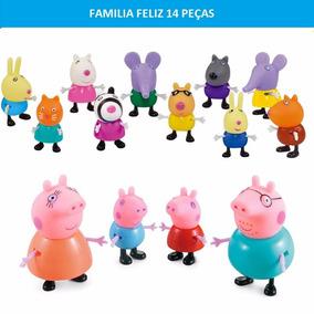 Kit 14 Miniaturas Peppa Pig Turma Porco George Papai Mamãe