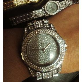 Relógio Iced Gold Cravejado Diamantes Gangster Hip Hop Luxo
