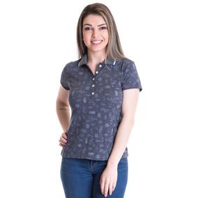 c5a9d0c8dad54 Camisa Polo Manga Curta Listrada 116539 · Camisa Polo Feminina Piquet  Estampado 96601
