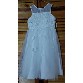 Vestido De Niña Blanco Para Fiesta Importado Talla 6