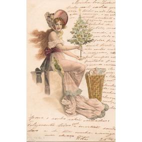 Cartão Postal Antigo Arranjos De Natal
