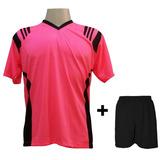 8d8e538d5 Uniforme 18 Camisas Roma Rosa preto + 18 Calções Pretos