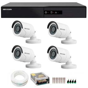 Kit Cftv 4 Cameras De Segurança Hd 720p Dvr Hikvision 4 Cana