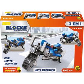Blocos De Montar 3 Em 1 - Moto Monsters - 240 Peças - Bee Bl