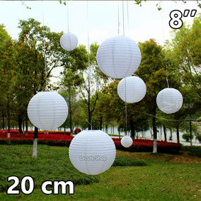10 Pantallas Chinas 20 Cm Blancas Linterna Lampara