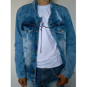 Jaqueta Jeans Masculina Rasgada - Calçados 6e5e5d3052e