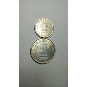 Lote C/ Duas Moedas:1000 E 2000 Réis Prata Ano 1910/1907