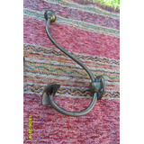 Lindo Antiguo Perchero En Bronce Alto 23 Cm Bolita Y Percha