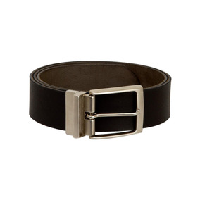 Cinturon Hombre Liso Doble Vista Chocolate/negro Piel (kv171