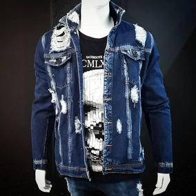 Jaqueta Masculina Jeans Slim Fit Rasgada Destroyed d4ce726e4d7