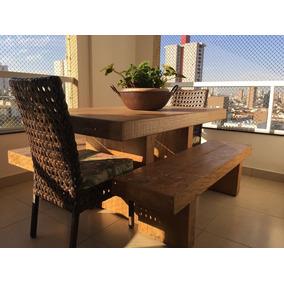 Conjunto De Mesa E Bancos De Peroba Rosa + Cadeiras