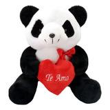 Pelúcia Urso Panda Com Coração Te Amo - 28 Cm