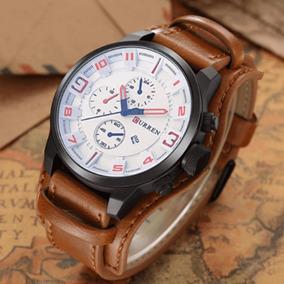 8fe7ba0b301 Relogio Pulseira Couro Marrom Fundo Branco - Relógios no Mercado ...