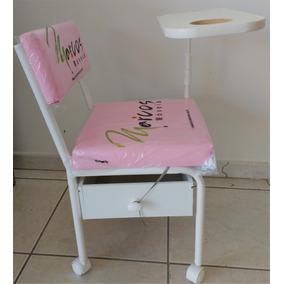 Cadeira De Manicure Rosa Com Gliter Brilhante S/juro