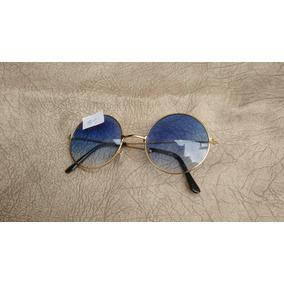 Óculos De Sol Redondo Estilo John Lennon Dourado Marrom - Óculos no ... 033576fb93