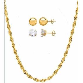 b190587aa8bd1 Conjunto 2 Brincos De Ouro 18k + Corrente Cingapura Ouro 18k