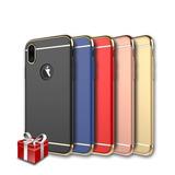 Mica + Funda Lujo Cromo 3 En 1 iPhone X Xs 8 7 6 Y Plus