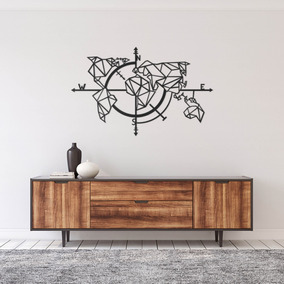 Quadro Decorativo Parede Mapas Mapa Bússola Minimalista 90cm