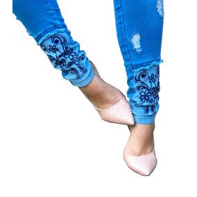 Roupa Calça Moda Feminina Bordada Jeans Rasgados Destroyed