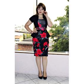 Vestido Moda Evangélica Tubinho Peplum Floral Luane