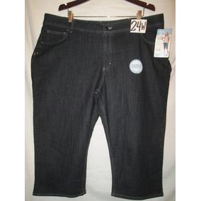 Pantalon Capri Azul Marino Mezclilla Talla 24w Lee Riders