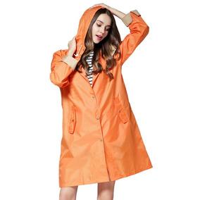 Atractivo Rompevientos Estilo Abrigo Para Mujer Naranja