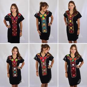 Vestido Artesanal Mexicano Bordado Corbata De Flores