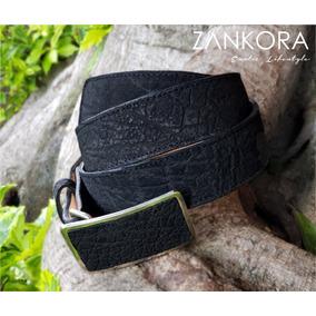 Cinturón Vaquero De Piel De Elefante Negro